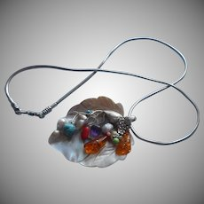 Sterling Silver Blister Mother Of Pearl Pendant Neclace Amber Colored Stones