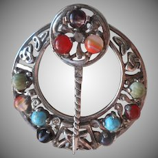 Vintage Celtic Shawl Pin Sphinx A936 Penannular Colored Stones
