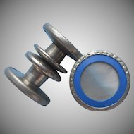 1920s Snap Cufflinks Vintage Mother Of Pearl Blue Rims Fre-Dau Brand