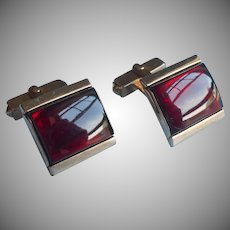 Red Glass Cufflinks Vintage Swank Curved Cabochons Gold Tone