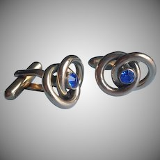 1940s Cufflinks Blue Stone Interlocking Circles Gold Tone