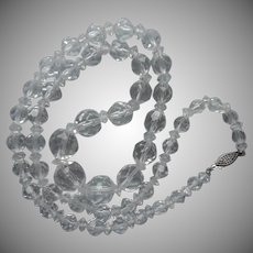 Classic Cut Crystal Beads Necklace Graduated Sterling Clasp