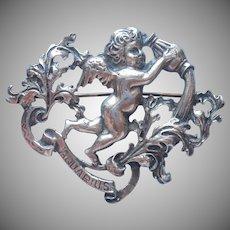 Cini Aquarius Sterling Silver Vintage Pin Brooch Cherub Zodiac