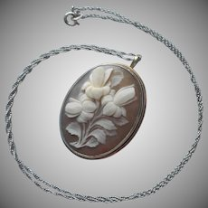 Vintage Italian Cameo Flowers Sterling Silver Frame Pin Gold Filled Chain Necklace