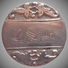 Victorian Collar Button Monogram G.S.B. Antique Gold Plated