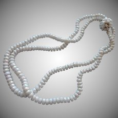 1950s Necklace White Iridescent Glass Rondelle Beads