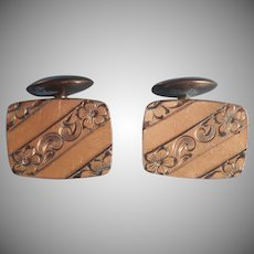 Antique Cufflinks Diagonal Engraved