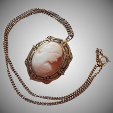 Shell Cameo Necklace Vintage 1930s to 1950s