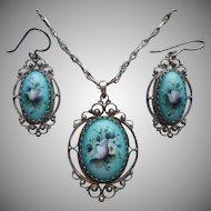 Vintage Russian Finift Rostov Enamel Filigree Necklace Pierced Earrings Turquoise Blue