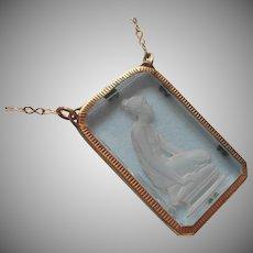 1920s Grecian Woman Intaglio Glass Pendant Necklace Vintage