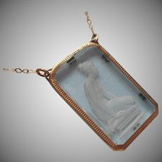 1920s Grecian Woman Intaglio Glass Pendant Necklace Vintage