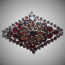 Antique Bohemian Garnet Pin Flower Diamond Shape Built Up