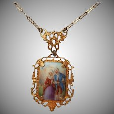 1920s Necklace Porcelain Drop French Courting Couple