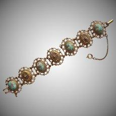 Vintage Bracelet Aqua Stones Victorian Revival Faux Pearl