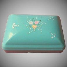 1940s Soap Box Aqua Vintage Hard Plastic Hand Painted