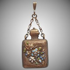 Victorian Vinaigrette or Lachrymatory Fob Charm Enameled Antique