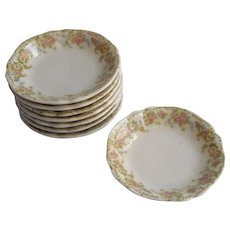 Butter Pat Dishes Antique China Set 8 Pink Yellow Flowers