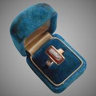 9K Gold Hardstone Sardonyx Cameo Ring Antique