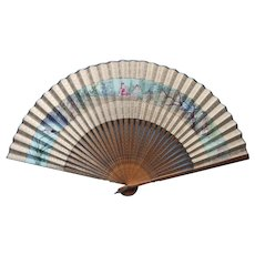 Antique Fan Hand Painted Paper Wood Empire Figures Wisteria