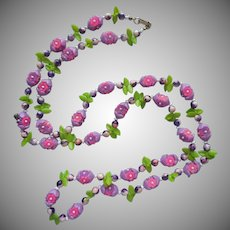 Vintage Plastic Flowers Necklace Purple Pink 49 Inches Hong Kong