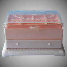 Vintage Pink Plastic 1950s Hommer Jewelry Sewing Box 3 Tier Hard Plastic