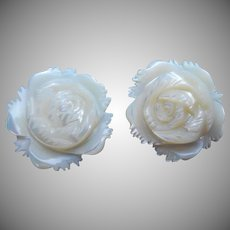 Roses Carved Mother Of Pearl Clip Earrings Vintage 1950s