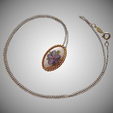 Gold Filled Necklace Enamel Pendant Purple Flower Vintage 1970s