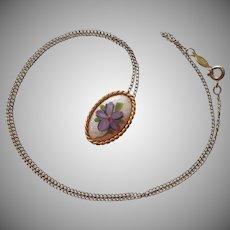 Gold Filled Necklace Enamel Pendant Purple Flower Vintage 1970s