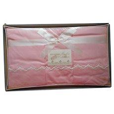 Sheet Pillowcases Set Vintage 1950s Pink Cotton Unused White Scallops