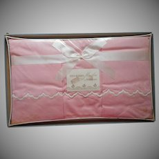 Sheet Pillowcases Set Vintage 1950s Pink Cotton Unused White Scallops