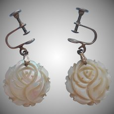 Roses Mother Of Pearl Vintage Dangle Earrings 1950s Screw Back