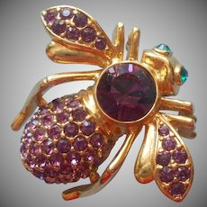 Joan Rivers Bee Pin Purple Large Stone And Pave