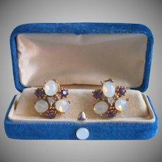 Faux Opals Glass Earrings Vintage 1950s Purple Faux Amethyst