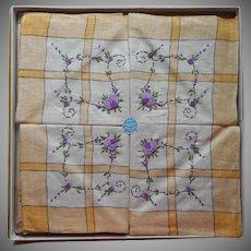 1920s Tea Tablecloth Napkins Set Vintage Hand Embroidered Purple