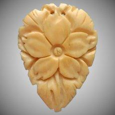 1930s Carved Bone Dress Clip Flower Form