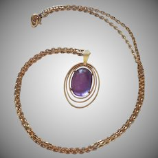 Amethyst Cabochon Gold Filled Vintage Necklace Krementz