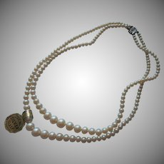 Vintage Glass Faux Pearls Sterling Silver Clasp Original Tag