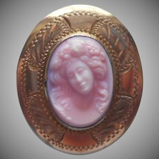 Antique Pink Cameo Glass Wide Frame Small