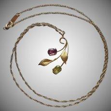 Gold Filled Krementz Necklace Pink Green Stones Leaves Vintage
