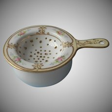 Nippon Tea Strainer Antique China Top Good Base As Is Pink Gold