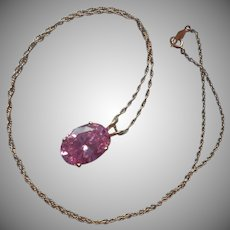 14K Yellow Gold Pink CZ Pendant On Chain Necklace Vintage