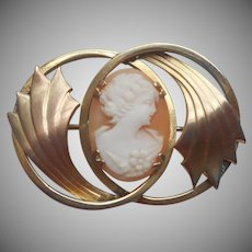 1920s Cameo Pin Carved Shell Wings Effect