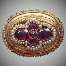 Antique Pin Pink Tourmaline Seed Pearls Small