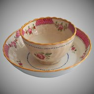 18th Century Lowestoft Chinese Export Cup Saucer Antique
