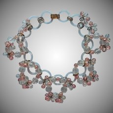 1930s All Glass Rings and Beads Necklace Vintage Pink Cut Crystal Beads