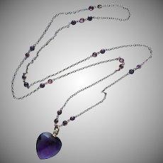 Edwardian Necklace Long Faux Amethyst Heart Pendant Purple Glass Antique