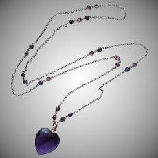 Edwardian Necklace Long Faux Amethyst Heart Pendant Purple Glass Antique