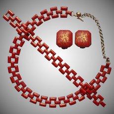 1940s Set Red Painted Crackled Vintage Necklace Bracelet Earrings