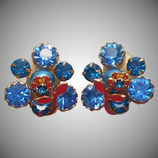 Weiss Earrings Vintage Blue Rhinestones Faux Pearl Flower Over Cluster