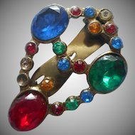 1930s Dress Clip Nice Glass Stones Vintage Smaller Primary Colors